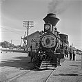 Atchison, Topeka, and Santa Fe, 'Cyrus K. Holliday' Locomotive No. 1 with Tender, Left Side with Station (15653234082).jpg