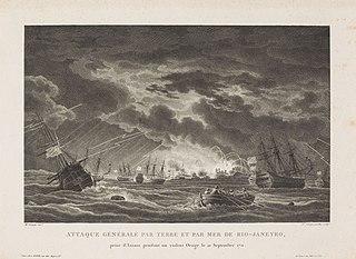 Attaque générale par terre et par mer de Rio-Janeyro, prise d´Assaut pendant un violent Orage le 21 Septembre 1711