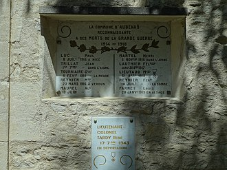 Aubenas-les-Alpes - Plaque on the War memorial at Aubenas.