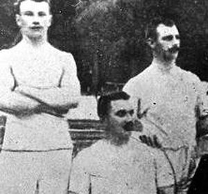 Tug of war at the 1900 Summer Olympics - Karl Staaf, August Nilsson and Gustaf Söderström (clockwise from top-left) represented Sweden in a combined Scandinavian team.