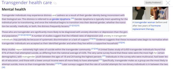 Authorship highlighting of student edits to Transgender healthcare on English Wikipedia