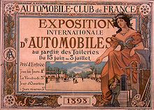 Poster del Salone Internazionale dell'Auto del 1898.'exposition internationale d'automobiles de 1898.