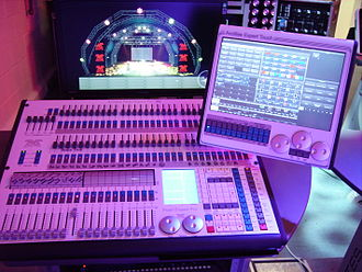 Lighting control console - An Avolites Pearl Expert with optional Touch Wing, running the Titan control system.