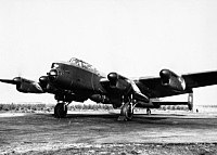Avro Lancaster B Mk I (Special) of No. 617 Squadron, loaded with a 'Grand Slam' 22,000-lb deep-penetration bomb, running up its engines at Woodhall Spa, Lincolnshire, 1944. MH4263.jpg