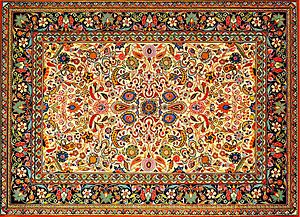 "Tabriz rug - Typical traditional Tabriz style ""Afshan carpet"", Azerbaijan Carpet Museum"