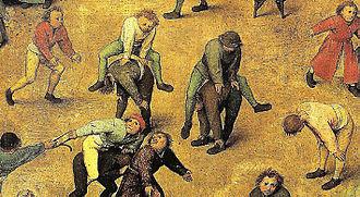 Leapfrog - Children playing leapfrog in Bruegel's Children's Games
