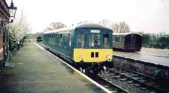 British Rail Class 100 - Class 100, no. 56301 at County School Station on the Mid-Norfolk Railway on 17 December 2001. This unit was the first heritage DMU vehicle to enter preservation.