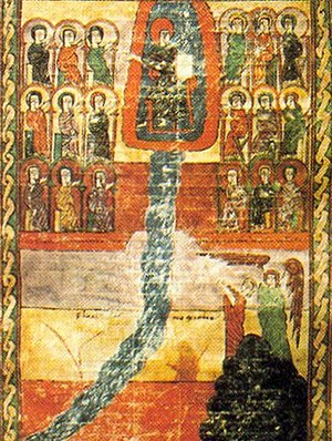 """Water of Life (Christianity) - Depiction of Fleuve de Vie, the """"River of Life"""", from the Book of Revelation, Urgell Beatus, (f°198v-199), c. 10th century"""