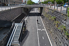 Baana, a bicycle lane in the center of Helsinki 20120626.jpg