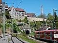 Bahn in Rottweil und Blick auf den Aufzugstestturm der ThyssenKrupp Elevator AG - panoramio.jpg