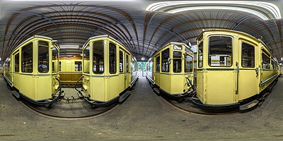 spherical HDR panorama in a tram museum in Dortmund