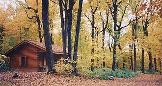 Three Rivers Park District - One of the cabins at the Baker Near-Wilderness Settlement