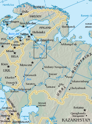 Volga–Baltic Waterway - The Volga–Baltic Waterway (boxed area) and the entire Volga River in relation to the Caspian Sea and Black Sea