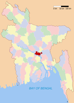 Location of Munshiganj in Bangladesh