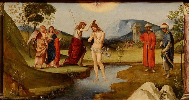 Francesco Francia: Krisztus megkeresztelése (Bologna, 1490)