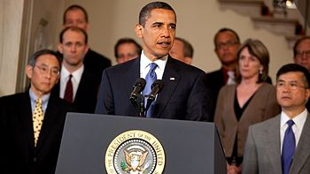 "English: Barack Obama delivers his ""The End of..."