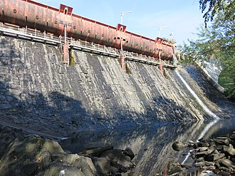 Holmes Run - The masonry dam across Holmes Run that creates Barcroft Lake, Fairfax County, Virginia, 22 October 2017