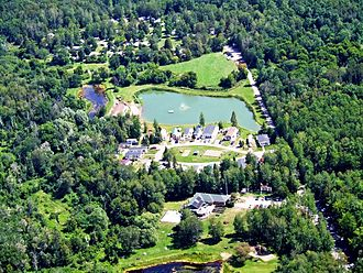 East Gwillimbury - Aerial view of Bare Oaks Family Naturist Park looking east.