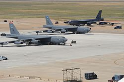 Three Boeing B-52H Stratofortress bombers sit on the flight-line at Barksdale Air Force Base during 2012.