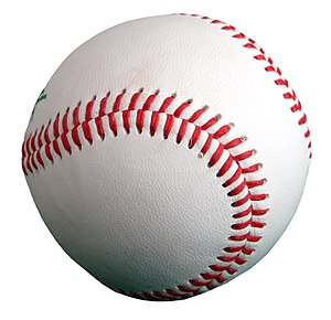 A baseball, cropped from Image:Baseball.jpg