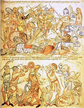 Battle of Bannockburn - An early 14th century English depiction of a Biblical battle giving an impression of how soldiers were equipped at Bannockburn. The image of a king wielding a battle axe in the top half has led some historians to link this image to Bannockburn.