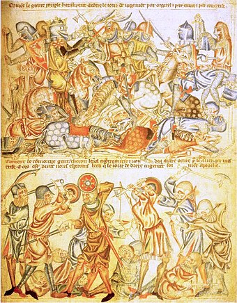 Scene from the Holkham Bible showing knights and foot soldiers from the Battle of Bannockburn. Bannockburn.jpg