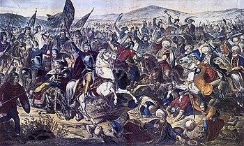 Battle of the Blackbird Field, patriotic history painting by the Serbian painter Adam Stefanović (1870)