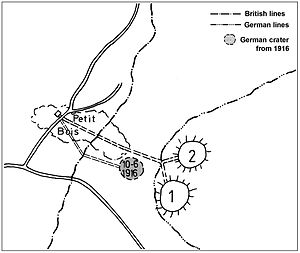 250th Tunnelling Company - Plan for the British deep mine at Petit Bois with its two chambers and the crater of the German counter mine of 1916 clearly visible