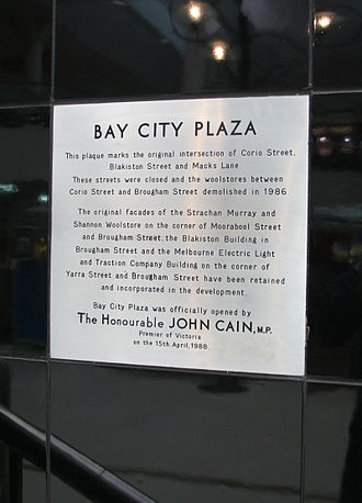 Westfield Geelong - Plaque marking opening of Bay City Plaza.