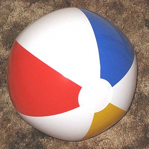 Hosohedron - This beach ball shows a hosohedron with six lune faces, if the white circles on the ends are removed.