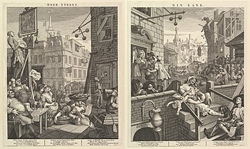 William Hogarth: Beer Street (links) und Gin Lane (rechts)