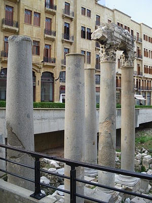 Cardo Decumanus Crossing - Five re-erected columns mark the crossing of the Cardo and Decumanus Maximus in Beirut