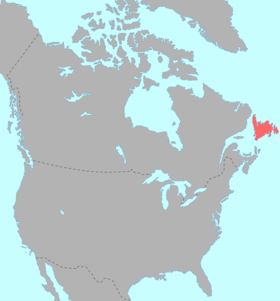 Répartition de la langue béothuk