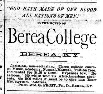 Berea College - An ad for Berea College from 1900, placed in a black newspaper in Minnesota.