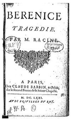 Berenice (play) - Title page from the 1671 edition of Bérénice