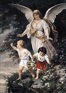 "Schutzengel (English: ""Guardian Angel"") by Bernhard Plockhorst depicts a guardian angel watching over two children."