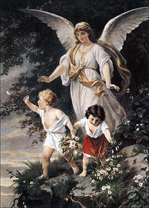 "Angel - Schutzengel (English: ""Guardian Angel"") by Bernhard Plockhorst depicts a guardian angel watching over two children."
