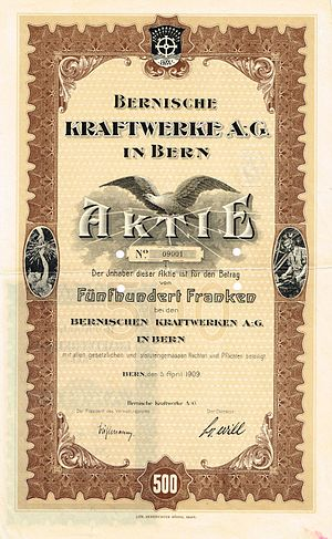 BKW FMB Energie - Share of the Bernische Kraftwerke AG, issued 5. April 1909