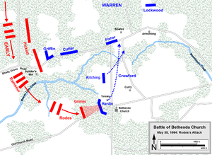 Battle of Totopotomoy Creek - Battle of Bethesda Church, Rodes's attack