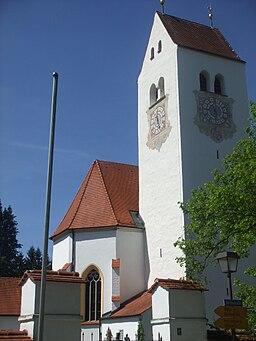 Betzigau, Landkreis Oberallgäu, Pfarrkirche St. Afra Turm aus dem 16. Jahrhundert