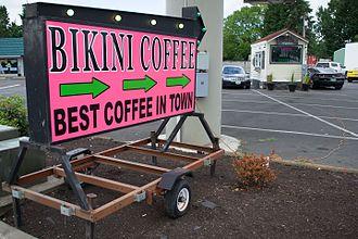 Bikini barista - A bikini barista coffee kiosk in Hillsboro, Oregon
