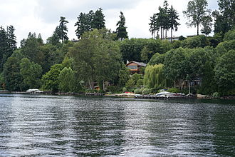Bill Gates's house - The house in 2015. Many trees block much of the house from view from Lake Washington.