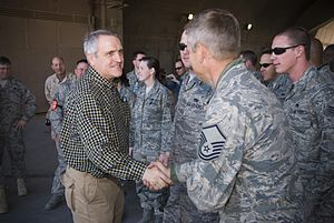 Bill Ritter - Ritter visiting with members of the U.S. Armed Forces from Colorado in Iraq, December 2007