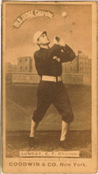 Billy Sunday - Billy Sunday, Center Fielder, Chicago White Stockings, c. 1887