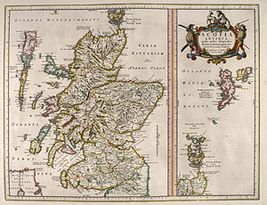 Scotia - A map from 1654 illustrating the latter use of Scotia for Scotland and Hibernia/Ivverna for Ireland
