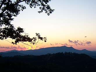 Sevier County, Tennessee - Sunset over Bluff Mountain