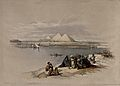 Boat on the river Nile looking towards the pyramids at Saqqâ Wellcome V0049306.jpg