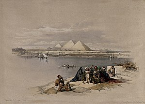 Joseph's Granaries - View across the Nile by David Roberts (1846).