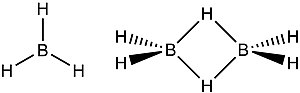 Herbert C. Brown - Borane, BH3, is a gaseous compound that is only present at high temperatures. It dimerises to form diborane, B2H6. Diborane has a pair of three-center two-electron bonds.