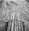 Bosbewerking, arbeiders, boomstammen, karren, Bestanddeelnr 253-4032.jpg